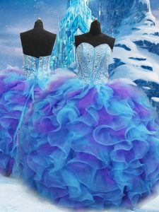 Fabulous Floor Length Blue Vestidos de Quinceanera Sweetheart Sleeveless Lace Up