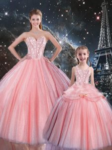 Beauteous Sweetheart Sleeveless Sweet 16 Quinceanera Dress Floor Length Beading Pink Tulle