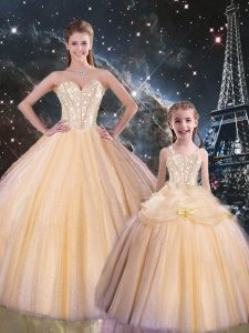 Fantastic Floor Length Champagne Quinceanera Dresses Sweetheart Sleeveless Lace Up
