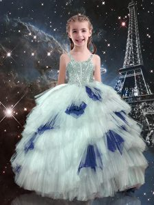 Custom Fit White Straps Neckline Beading and Ruffled Layers Pageant Dress for Teens Sleeveless Lace Up