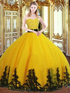 Gold Zipper Sweet 16 Quinceanera Dress Beading and Appliques Sleeveless Floor Length