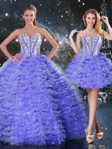 Eye-catching Sleeveless Organza Floor Length Lace Up Quinceanera Dress in Purple with Embroidery