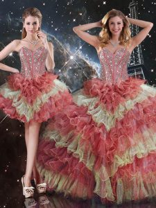 Flare Sleeveless Organza Floor Length Lace Up 15th Birthday Dress in Multi-color with Beading and Ruffled Layers