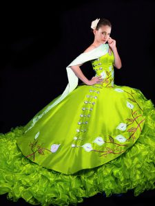 Sweetheart Sleeveless Brush Train Lace Up Quinceanera Dress Yellow Green Organza