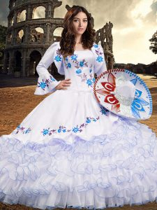 Fashion Baby Blue Lace Up Square Embroidery and Ruffled Layers Ball Gown Prom Dress Organza Long Sleeves