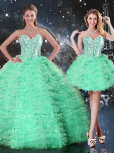 Sophisticated Organza Sleeveless Floor Length Quinceanera Gowns and Beading and Ruffled Layers