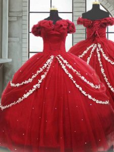 Off The Shoulder Sleeveless Brush Train Lace Up Quince Ball Gowns Wine Red Tulle