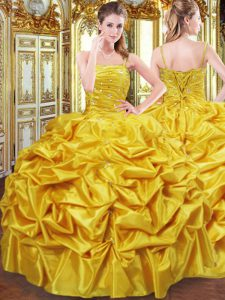 Sophisticated Gold Sleeveless Floor Length Beading and Pick Ups Lace Up Quinceanera Dress
