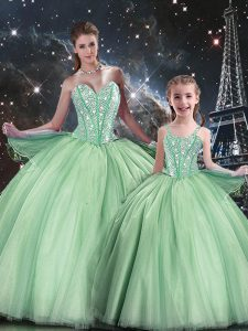 Apple Green Sweetheart Neckline Beading Quinceanera Dress Sleeveless Lace Up