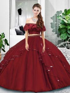 Floor Length Burgundy 15th Birthday Dress Off The Shoulder Sleeveless Lace Up