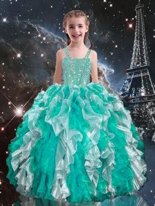 Beautiful Floor Length Ball Gowns Sleeveless Turquoise Pageant Dress Womens Lace Up
