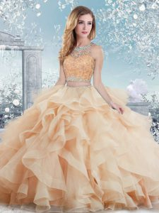 Fabulous Peach Ball Gowns Beading and Ruffles Sweet 16 Dresses Clasp Handle Organza Sleeveless Floor Length