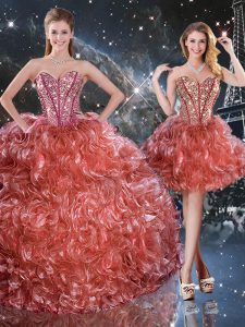 Colorful Rust Red Lace Up Sweetheart Beading and Ruffles 15th Birthday Dress Organza Sleeveless