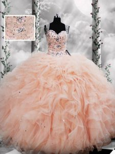 Free and Easy Floor Length Ball Gowns Sleeveless Peach Quinceanera Dress Lace Up