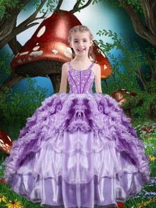 Ball Gowns Kids Pageant Dress Lavender Straps Organza Sleeveless Floor Length Lace Up