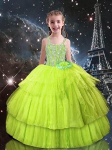 Customized Tulle Sleeveless Floor Length Little Girl Pageant Dress and Beading and Ruffled Layers