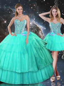 Organza Sweetheart Sleeveless Lace Up Ruffled Layers and Sequins Quinceanera Dresses in Turquoise