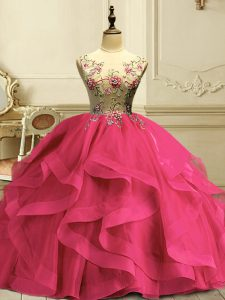 Flirting Floor Length Hot Pink Quinceanera Gown Scoop Sleeveless Lace Up