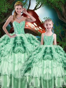 Top Selling Multi-color Ball Gowns Organza Sweetheart Sleeveless Beading and Ruffles and Ruffled Layers Floor Length Lace Up Sweet 16 Dress