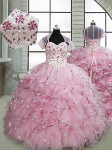 Sleeveless Beading and Ruffles Lace Up Little Girls Pageant Dress Wholesale with Baby Pink Brush Train