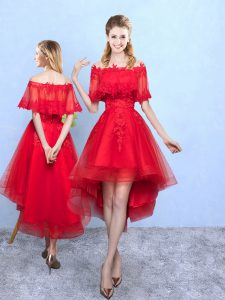 Inexpensive Wine Red A-line Off The Shoulder Half Sleeves Organza High Low Lace Up Appliques Vestidos de Damas