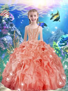 Superior Watermelon Red Sleeveless Floor Length Beading and Ruffles Lace Up Winning Pageant Gowns