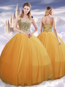 Gold Sleeveless Tulle Lace Up Sweet 16 Dresses for Military Ball and Sweet 16