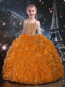 Cute Floor Length Lace Up Evening Gowns Orange Red for Quinceanera and Wedding Party with Beading and Ruffles
