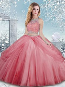 Watermelon Red Scoop Clasp Handle Beading Quince Ball Gowns Sleeveless