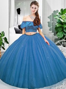 Glittering Sleeveless Lace Lace Up Quince Ball Gowns