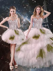 High End Sweetheart Sleeveless Quinceanera Dress Floor Length Beading and Ruffled Layers and Sequins Champagne Tulle
