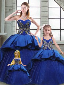 Suitable Blue Taffeta Lace Up Sweetheart Sleeveless Sweet 16 Quinceanera Dress Court Train Beading and Appliques and Embroidery