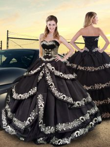 Fantastic Sleeveless Floor Length Embroidery and Ruffled Layers Lace Up Quinceanera Gown with Black