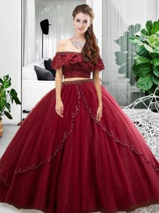 Two Pieces Vestidos de Quinceanera Burgundy Off The Shoulder Tulle Sleeveless Floor Length Lace Up