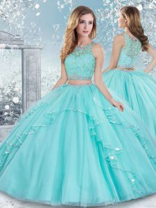 Stylish Floor Length Clasp Handle Quinceanera Dresses Aqua Blue for Military Ball and Sweet 16 and Quinceanera with Beading and Lace