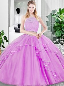 Tulle Sleeveless Floor Length Quinceanera Dress and Lace and Ruffled Layers