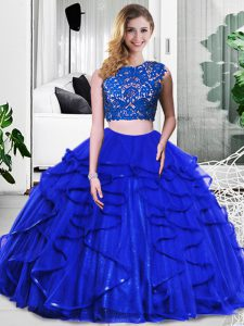 Ideal Royal Blue Two Pieces Lace and Ruffles Sweet 16 Quinceanera Dress Zipper Tulle Sleeveless Floor Length