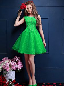 Nice Green Sleeveless Tulle Lace Up Dama Dress for Prom and Party