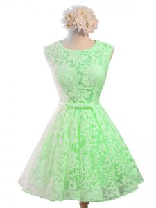 New Arrival Knee Length A-line Sleeveless Green Vestidos de Damas Lace Up