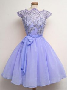 Modest Scalloped Cap Sleeves Quinceanera Court Dresses Knee Length Lace and Belt Lavender Chiffon