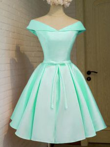 Captivating Turquoise Off The Shoulder Neckline Belt Dama Dress for Quinceanera Cap Sleeves Zipper
