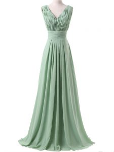 Luxury V-neck Sleeveless Vestidos de Damas Floor Length Ruching Apple Green Chiffon