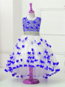 Blue And White Ball Gowns Tulle Scoop Sleeveless Appliques and Sequins High Low Zipper Little Girls Pageant Gowns