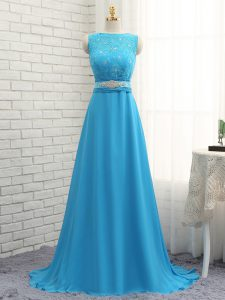 Baby Blue Zipper Asymmetric Beading and Lace Quinceanera Dama Dress Chiffon Sleeveless Brush Train