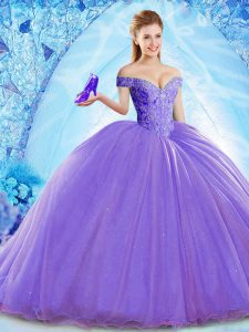 Edgy Lavender Sleeveless Brush Train Beading Quince Ball Gowns