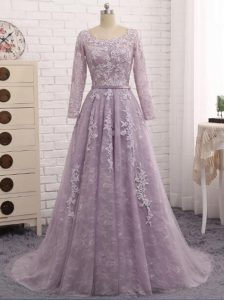 Hot Selling Zipper Mother of the Bride Dress Lavender for Prom and Sweet 16 with Beading and Appliques Brush Train