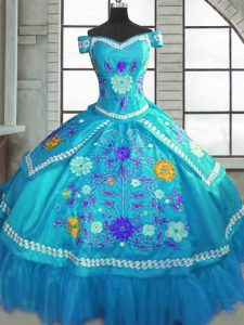 Teal Short Sleeves Floor Length Beading and Embroidery Lace Up Sweet 16 Dresses