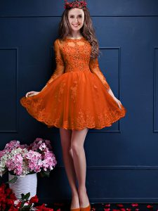 Chiffon 3 4 Length Sleeve Mini Length Quinceanera Dama Dress and Beading and Lace and Appliques