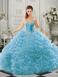 Extravagant Aqua Blue 15 Quinceanera Dress Military Ball and Sweet 16 and Quinceanera with Beading and Ruffles Sweetheart Sleeveless Court Train Lace Up