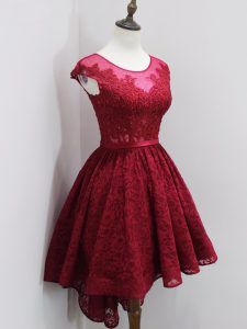 High Quality Wine Red A-line Beading and Lace Quinceanera Court of Honor Dress Zipper Lace Cap Sleeves High Low